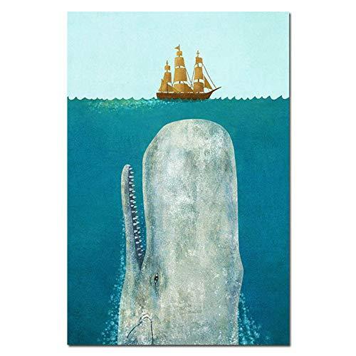 Aquarell Tierwal Bär Kinderzimmer Poster Wandkunst Druck Leinwand Malerei Baby Zimmer Dekoration 50x70cm