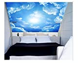 Shuangklei 3D Wall Ceiling Murals Wallpaper with Cloud and Blue Sky for Living Room Bedroom Hall 3D Ceiling Murals 3D Wall Stickers -280X200Cm