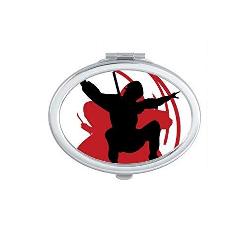 DIYthinker Bushido Samurai Sakura Silhouette Japan Asien Oval Compact Make-up Taschenspiegel Tragbare Nette kleine Hand Spiegel Geschenk Mehrfarbig