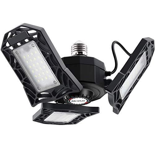 LED Garage Lights, 60W LED Garage Ceiling Lights 6000LM Garage Lighting, Deformable LED Shop Lights for Garage, Warehouse, Corridor, Stadium, etc, Support E26 Screw Socket (No Motion Detection)