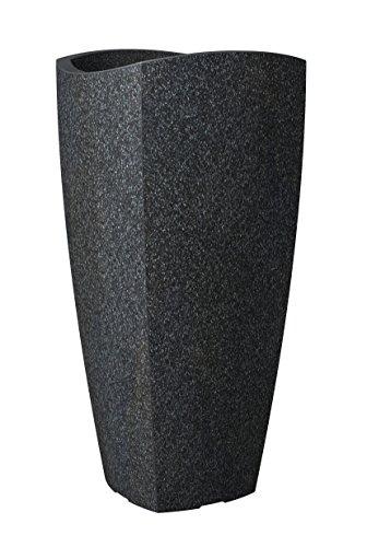 Scheurich Wave Globe Cubo High, Hochgefäß aus Kunststoff, Schwarz-Granit, 39,6 cm Durchmesser, 80 cm hoch, 21 l Vol.