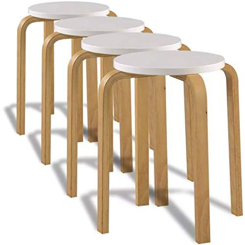 WENXIA Taburete para el hogar, silla de jardín, 4 taburetes apilables de madera doblada silla asiento bar hogar madera doblada apilable taburete redondo