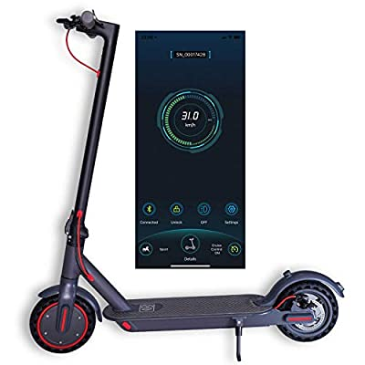 NAPPERBAND Electric Scooter Adult E Scooter 350w Motor 10.4Ah Battery Fast 30km/h 30km Range Dual Brakes Lights APP Lock and Solid State Honeycomb Tyres