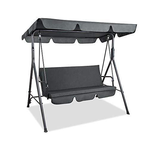PAMAPIC Patio Swing Chair, 3-Person Outdoor Canopy Swing, Proch Swing with Removable Cushion and Convertible Canopy, Outdoor Swing Glider for Patio, Garden, Poolside, Balcony (Gray)
