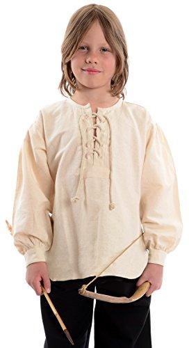 HEMAD Mittelalterhemd naturbeige Kinder-Schnürhemd Piraten-Hemd S