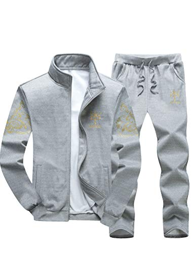 Lavnis Men's Casual Tracksuit Full Zip Running Jogging Athletic Sports Jacket and Pants Set Gray M
