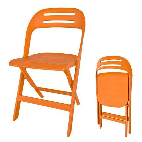 SoBuy® FST13-O Chaise de Jardin Pliante Ésistant aux Intempéries, Chaise de Camping Pliante Chaise de Balcon Pliante, Orange (1x FST13-O)