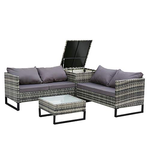4-Piece with Storage Box Outdoor Conversation Set Rattan Patio Furniture Set Bistro Set Sofa Chairs with Coffee Table (Mixed Gray+Dark Gray