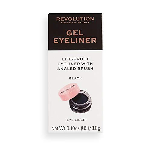 MakeUp Revolution Gel Eyeliner Pot With Brush - angewinkelten Eyeliner-Pinsel für einen schwungvollen und dramatischen Lidstrich - 1 Stück