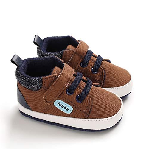 DEBAIJIA Lauflernschuhe Baby Segeltuchschuhe 0-6M Kinder Turnschuhe Jungen Leichtes Leinen Schuhe Mädchen Weiche Sohle 17 EU Braun (Etikettengröße 1)