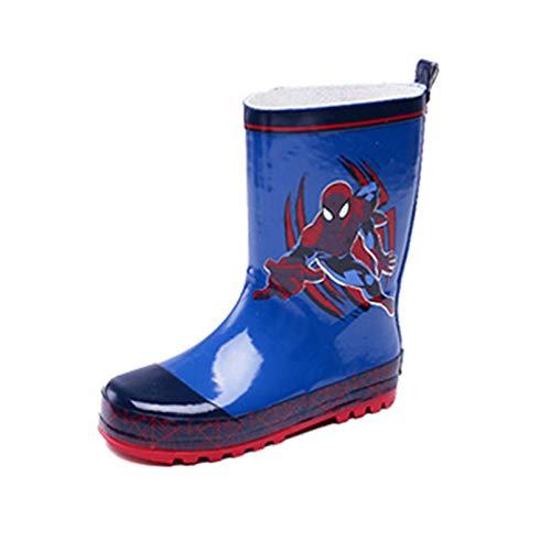 LINLIN Boy Girl Spiderman Rainy Boot Kindermode Bequeme Wellbore-Stiefel Unisex-Cartoons Leichte, lässige Gummistiefel, Blue- 29 Inner Length 19 cm