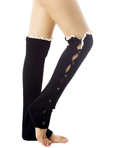 iB-iP Women's Knitting Button Down Thermal Eyelet Lace Cuff Mid-Calf Leg Warmers, Size: One Size, Black