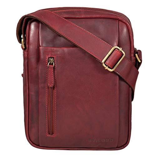 STILORD \'Irving\' Vintage Leder Tasche Braun klein Umhängetasche für 10,1 Zoll und iPad Tablettasche DIN A5 Handtasche Messenger Bag Echtleder, Farbe:Rosso