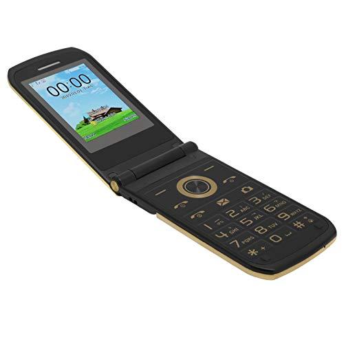 Vbestlife1 Teléfonos Plegables,Teléfono móvil de 2,4 Pulgadas,Teléfono Móvil de 32 MB + 32 MB de Fácil Funcionamiento con Batería Incorporada de 3800 MAh, Compatible con Varios Idiomas(Dorado)