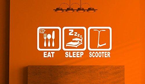 Eet Slaap Scooter, Kids Muursticker, Muur kunst voor kinderen Slaapkamer, Speelkamer Vinyl muur Sticker (57cm x 23cm) Gratis 1e Klasse Postage