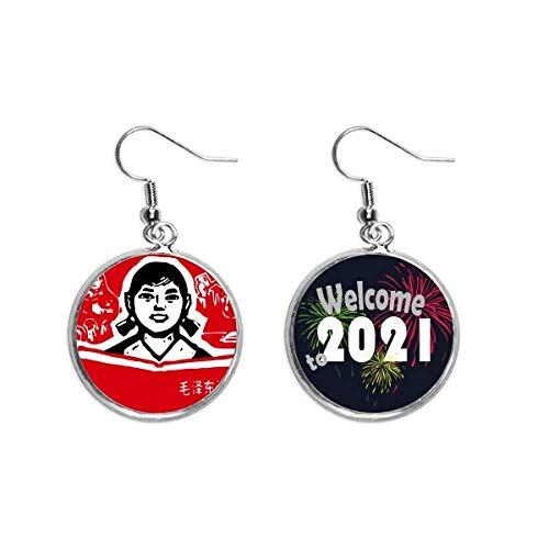 Girl Book Red Chinese Revolution Ear Pendants Pendiente Joyería 2021 Bendición