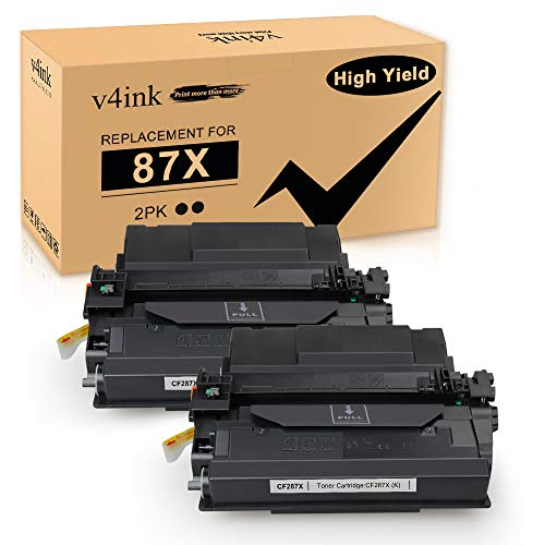 V4INK Compatible Toner Cartridge Replacement for HP 87X CF287X Toner for use in HP Laserjet Pro M501dn M501n M506dn M506n M506x M527c M527f M527dn M527z Printer, 2 Packs high yield-18,000 Pages