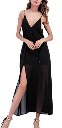 Vestidos Verano Mujer Elegantes Moda Vestido De Gasa Sin Mangas V Cuello Espalda Descubierta Fiesta Dresses Señoras con Aberturas Color Sólido Vestido Playa Vestidos Largos Casual