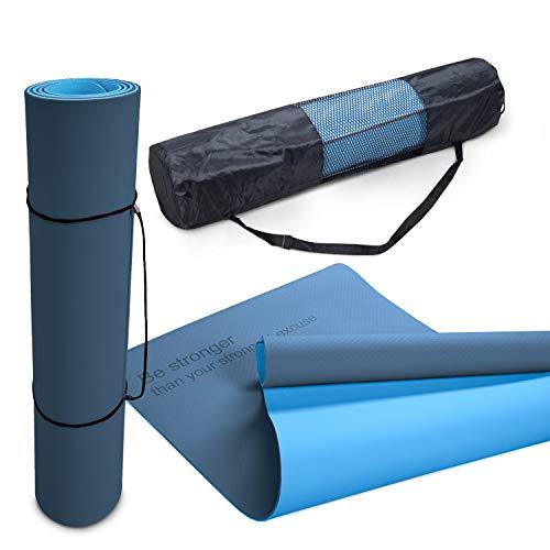 Paco Home Yogamatte Fitnessmatte Sportmatte rutschfest Reißfest Abwaschbar 8mm Dicke Zweifarbig Motivationsspruch Tasche & Tragegurt, Grösse:80x183 cm, Farbe:Dunkelblau Blau