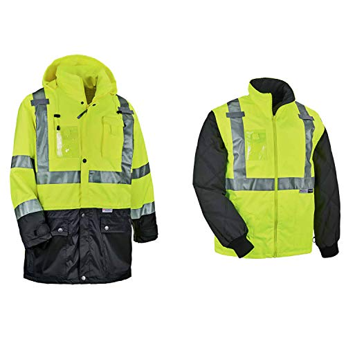 Conjunto de chaqueta térmica reflectante de alta visibilidad, incluye carcasa exterior de lluvia y chaqueta térmica con mangas con cremallera, Ergodyne GloWear 8388