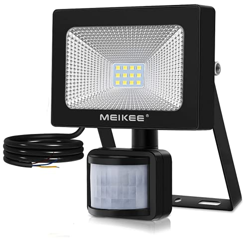 MEIKEE Foco para exteriores con detector de movimiento, 10W foco LED 1000 lm IP66 resistente al agua 6000 K luz blanca fría, iluminación exterior para jardín, garaje, campo deportivo