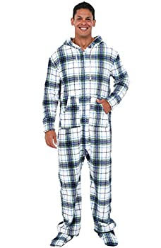 Alexander Del Rossa Men s Warm Fleece One Piece Footed Pajamas Adult Onesie with Hood Large Blue on White Plaid  A0320P06LG