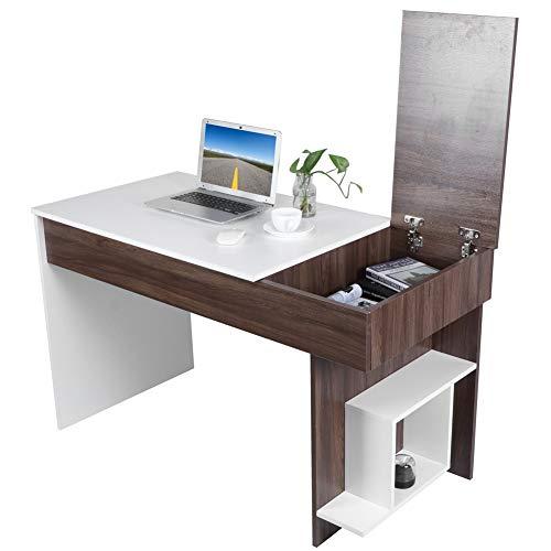 GOTOTOP Escritorio para ordenador con estante de estilo moderno para ordenador de estudio o de oficina, para ordenador portátil para el hogar, 124 x 60 x 74 cm