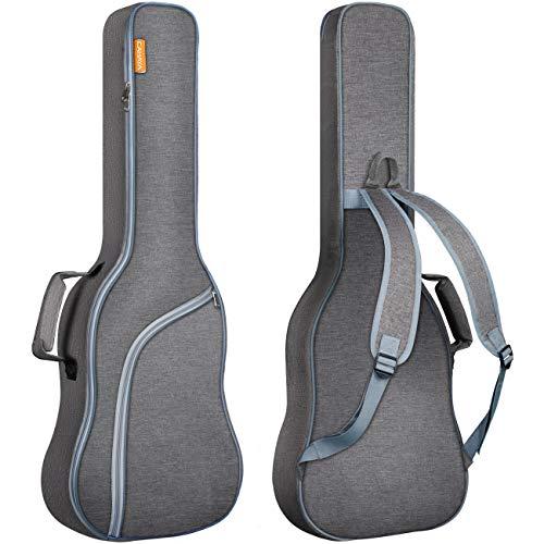 CAHAYA Gitarrentasche E-gitarre Gig Bag E-gitarrentasche Guitar Bag Electric gepolstert Grau mit Hellblau Reißverschluss, Reißfest und Wasserfest Genießen Sie Patentschutz