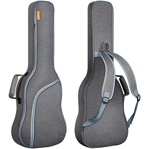 CAHAYA Gitarrentasche E-gitarre Gig Bag E-gitarrentasche Guitar Bag Electric gepolstert Grau mit Hellblau Reißverschluss, Reißfest und Wasserfest