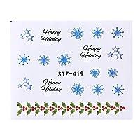 1ピースネイルアートステッカー新年スライダータトゥークリスマス水デカールサンタクロース雪だるまフルラップデザインデカールSASTZ405-439 STZ419