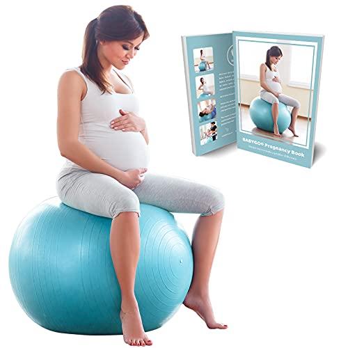 BABYGO Gymnastikball Schwangerschaft Sitzball Büro Schwangere Yoga Pezziball 65 cm 75 cm + 100 Seiten Schwangerschaftsbuch für Geburt & Fitness Anti-Burst 1000KG Pezzi Ball 65cm
