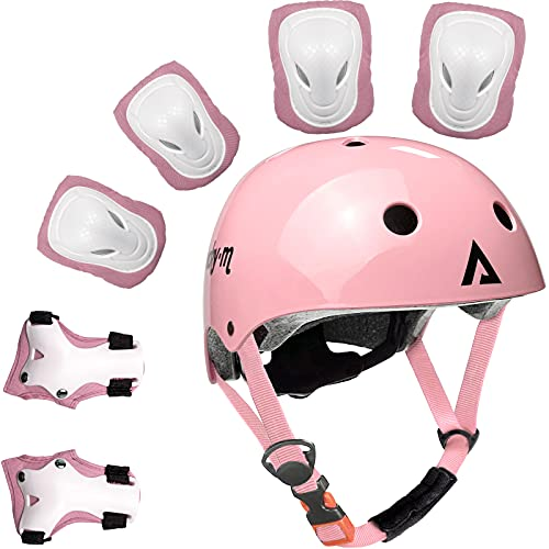 Kids Protective Gear Set Boys Girls Adjustable Size Helmet with Knee Pads, Elbow Pads, Wrist Guards for Skateboard, Cycling, Hoverboard, Scooter (pink)