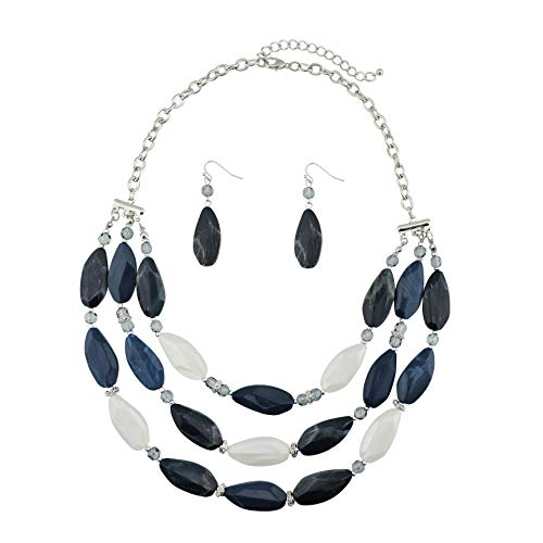 Bocar 3 Layer Beads Statement Necklace Earring for Women Jewelry Set (NK-10077-navy Blue)