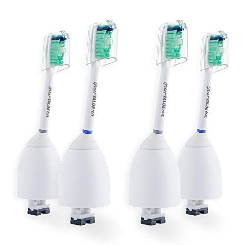 4X Great Value Tech Sonic Replacement Brush Heads Compatible with Philips Sonicare E-Series Toothbrush fits Elite, Essence, Advance, CleanCare, Xtreme, eSeries, HX7022, HX7023, HX7026 (4-Pack)