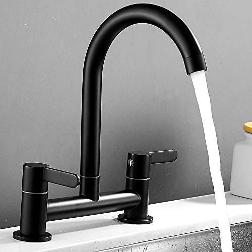 Miscelatore per lavello da cucina, 2 fori 1/4 di giro, doppia leva, nero, moderno, facile da usare, con beccuccio girevole con doppia maniglia ruota, colore: nero