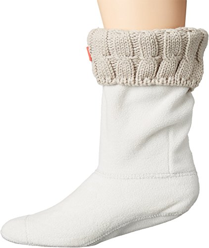 Hunter 6 Stitch Cable Boot Sock - Short Greige LG (Women's Shoe 8-10)