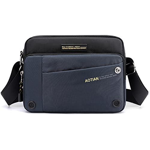 Bolsa de hombro cruzada de mensajero de lona mochila de mensajero escuela para hombres bolsa de viaje correa de hombro, Blue, Talla única,