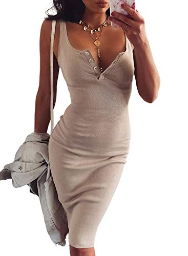 Dokotoo Womens Midi Dress Knitted Elastic Sleeveless Elegant Summer Sexy V-Neck Button Party Slim Fitted Bodycon Dresses