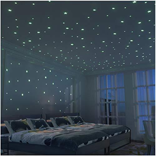 Stickers Muraux 3D Étoile Lumineux - 326 unités d'étoiles brightest and largest (10.5cm)- Enfant Décoration pour La Chambre - fluorescents et lumineux dans l'obscurité - DIY Décoration de la chambre Pour bébé Garçon Fille