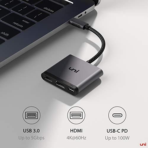uni USB C HDMI Adapter 3 in 1, USB-C Multiport Adapter, unterstützt 100W Lade, 4K HDMI und USB 3.0, Kompatibel für iPad Pro 2020/2018, MacBook, Galaxy S20 und mehr - Space Grau
