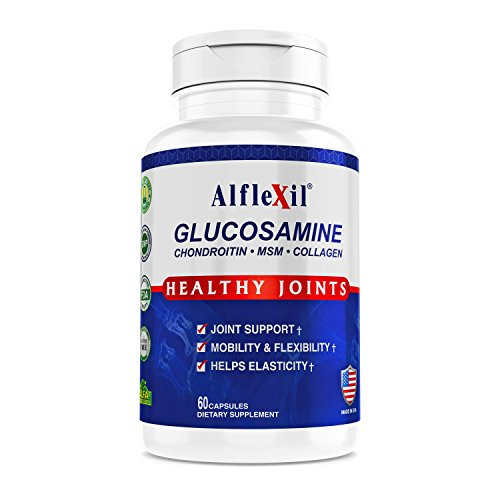 Alflexil Premium Glucosamine & Chondroitin Nutritional Supplement - Healthy Joint, Bone & Knee Support - Rich in MSM & Collagen - Organic Natural Ingredients - Made in USA - 60 Capsules