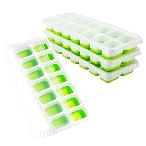 OMorc Ice Cube Trays 4 Pack, Easy-Release Silicone and Flexible 14-Ice Trays with Spill-Resistant Removable Lid, LFGB Certified and BPA Free,...