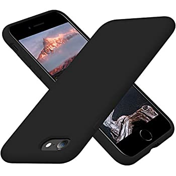 Cordking iPhone SE 2020 Case iPhone 7 8 Case Silicone Ultra Slim Shockproof Phone Case with [Soft Microfiber Lining] 4.7 inch Black
