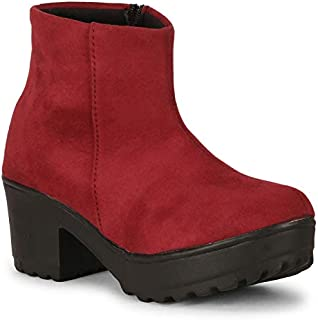 Commander Latest Casual Boots for Girls and Women (Cherry, Numeric_8)
