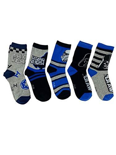 PAW PATROL Star Wars - Socken Strümpfe für Jungen, 5er Pack in Grau, Blau und Schwarz - Öko Tex, Schuhgröße:31/34