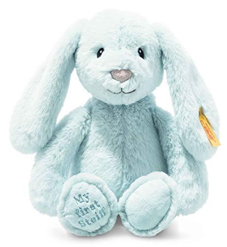 Steiff Soft Cuddly Friends My First Hoppie Hase-26 cm-Kuscheltier für Babys – kuschelig & weich-waschbar-hellblau (242335)