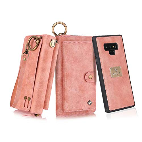 Petocase Compatible Samsung Galaxy Note 9 Wallet Case, Multi-Functional PU Leather Zip Wristlets Clutch Detachable Magnetic 13 Card Slots & 4 Cash Pocket Protection Cover for Galaxy Note 9 - Brown