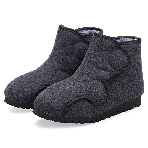XIUYU Neutral Diabetiker Pantoffeln, Einstellbarer High-Top-Baumwollschuhe, lose Schuhe mit geschwollenen Füßen Male_40_Dark grau, Breite Fit Leicht Close House Slipper