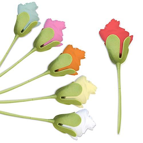 tEEZErshop 6 Stück Rosa&Weiß Rosé Serviettenhalter,Eckig Serviettenspender für Tischdekorationen,Romantische Atmosphäre für Hochzeit | Blumenvase Dekoration | Esszimmer