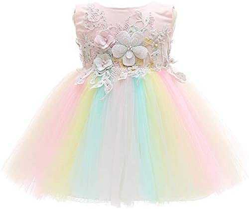 CareCheer Baby Girl Dresses Rainbow Christening Baptism Gown Flower Girl Dress with Flower Embroidered product image